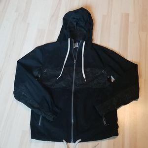 Men's Modern  Amusement black windbreaker hoodie